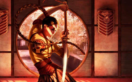 ninja, девушка, art, steve, argyle, самурай,