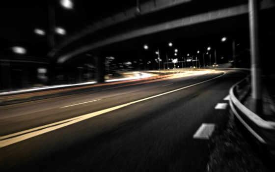 дорога, ночном, городе, ночная, автострада,