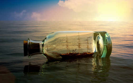 une, мер, bouteille, dans, bateau, comme, flottant, les,