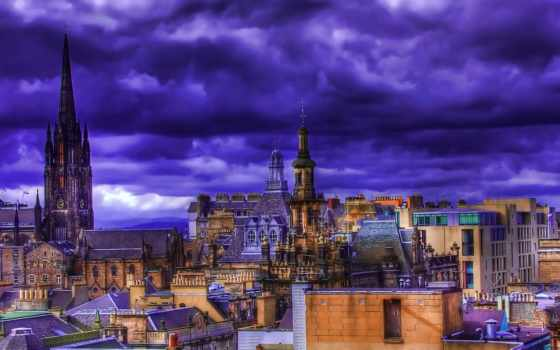 крыши, город, взгляд, сверху, ночь, colorful, картинка, здания,
