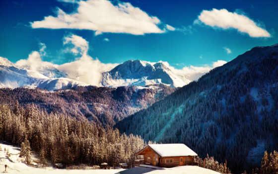 гора, природа, winter, снег, биг, landscape, дымчатый