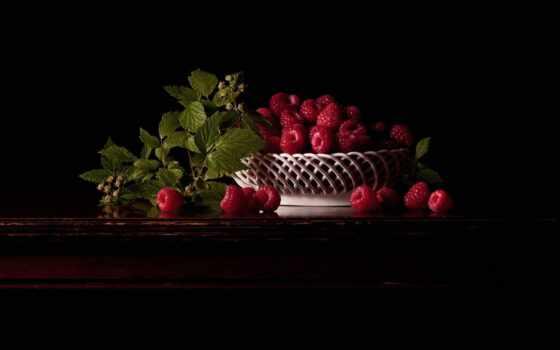 ягода, малина, натюрморт, meal, плод, клубника, фон, черная, красивый, apple, лист