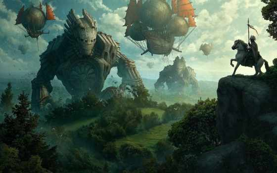monsters, art, fantasy, air, horses, hot, medival, steam,
