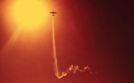 авиация, дым, air, небо, самолеты, поезд, sun,