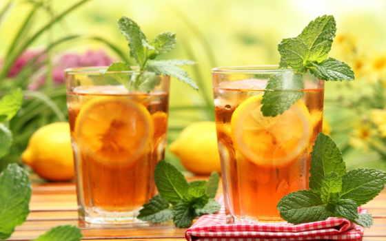 чая, холод, салфетка, стаканы, мята, lemon,