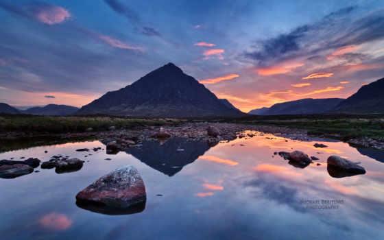 горы, море, небо, камни, картинка, река, природа, гора, закат, oblaka, scotia,