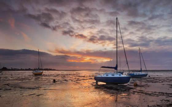 playa, barcos, baja, marea, pantalla, crepusculo, gratis, barcas, imagen,