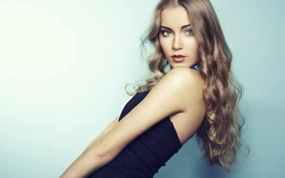 красивая, девушка, волосы, волосами, длинными, молодая, стоковые, длинные, стоковое, женщина, платье,