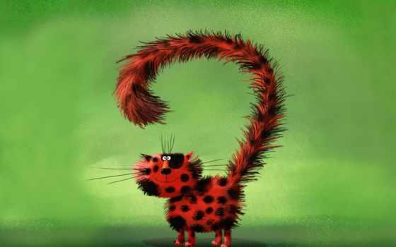 кот, живопись, black, red, дружелюбный, spots, art, tail, cats, long, andrei,