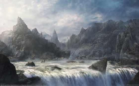 город, fantasy, небе, oblaka, кит, дерево, water, Сакура, водопад, озеро, небо,