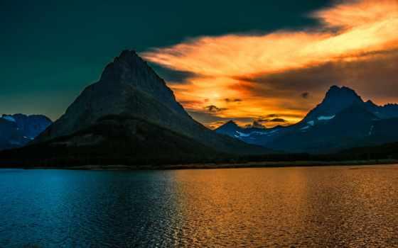 закат, landscape, гора, озеро, national, glacier, park, природа, montana,