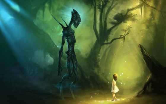 девушка, monster, лес, trees, стоя, друг, друга, маленькая, смотрят, была,