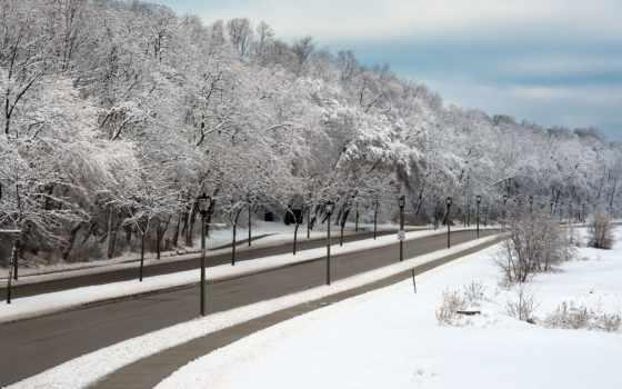 naturaleza, paisajes, nieve, rboles, invierno, caminos, del, lámpara, посте, cielo,