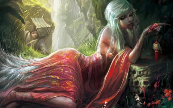девушка, fantasy, лежит, платье, фантастика, когти, красном, art, anime, blonde,