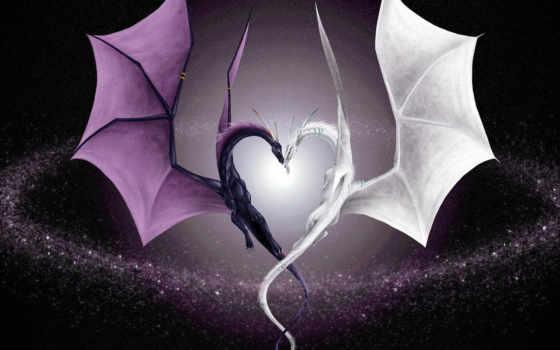 любовь, dragon, драконы, два, дракона, сердца, виде, fondo, bilder, day, photos, dragones, разрешении, blanco, выберите, valentine, serce, heart, smoki,