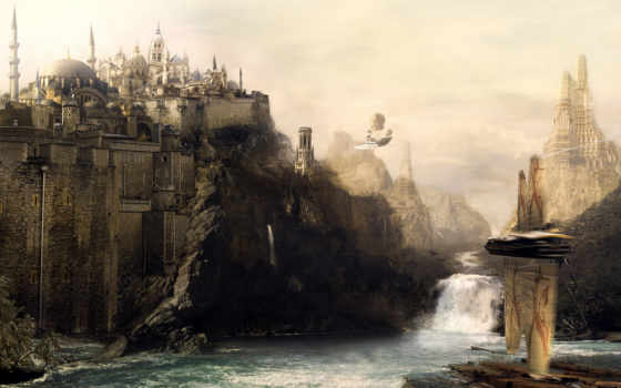 art, desktop, high, free, digital, design, castle, quality, fantastic, fantasy, река, водопад, замок, enlarge, scene,