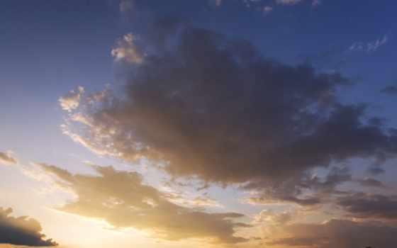 oblaka, закат, небо