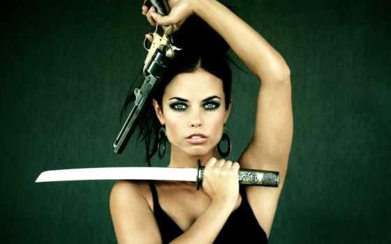 devushki, оружием, девушка, оружие, девушек, клинком, пистолетом,