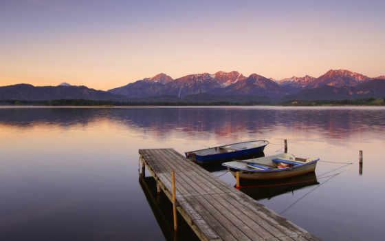 причал, лодки, pier, веревка, wooden, горы, озеро,
