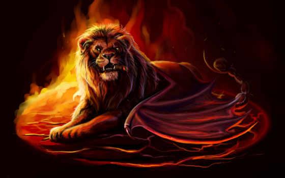 heroes, might, магия, art, пламя, fantasy, gaming, посещений, картины, львы,