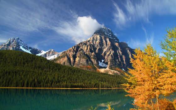 канадский, горы, chephren, осень, lower, озеро, альберта, howse, mount, waterfowl, swiss,