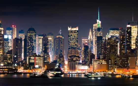 new, york, нью, город, манхэттан, ночь,