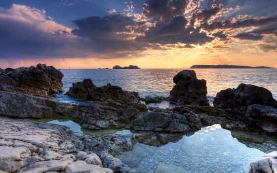 скалистый, берег, hawaii