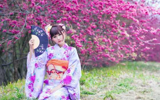 кимоно, japanese, девушка, fan, коллекция, красивый, card, drawing, дерево