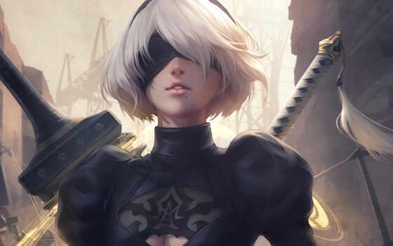 automaton, ny, white, game, девушка, волосы, art, black, вид, have, меч
