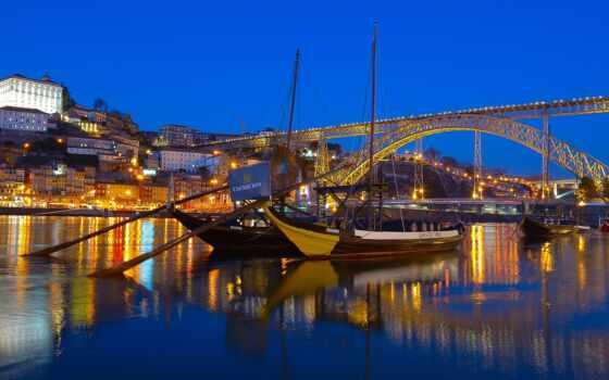 португалия, мост, porto, река, ночь, город, dom, огни, лодка