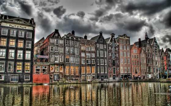нидерланды, amsterdam, priroda, амстердаме, kanal,