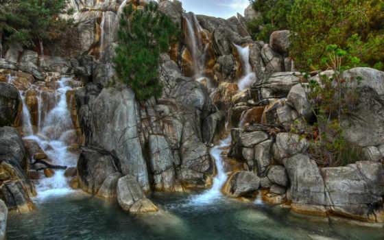 водопад, rocks, река, природа, free, поток, телефон,