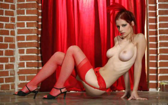 ,sexy, красное белье, чулки,  красивая гудь, титьки, голая, рыжая,