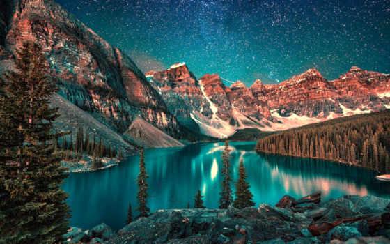 озеро, moraine, banff, national, канада, park, ночь, mountains, альберта,