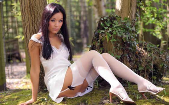 девушка, devushki, природа, сексуальные, stockings, банка, лесу,