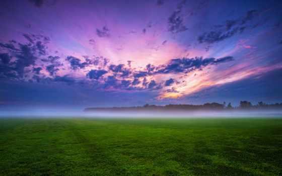 закат, красивые, небо, oblaka, поле, вечер, микс, trees, трава, поляна,