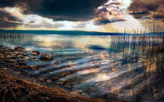 озеро, ohrid, macedonia, камень, everything, oblaka, природа, фотографий,