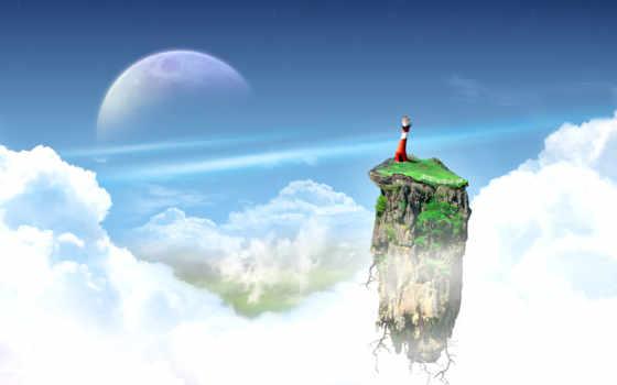 небо, метки, обои, дата, звезды, остров, луна, обл