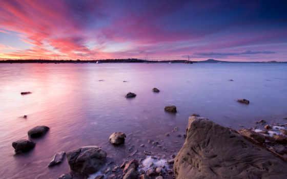 новая, zealand, берег, зеландии, небо, desktop, новой, закат,