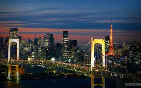 tokyo, мост, радуга