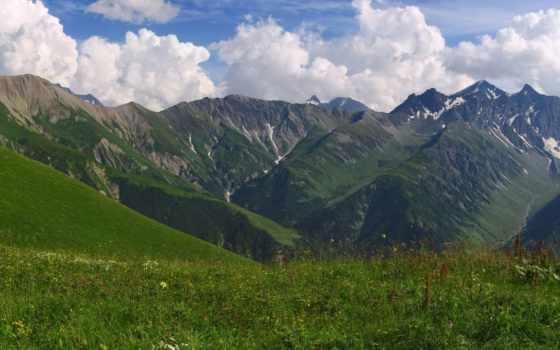 горы, кавказцы, margin, свежесть, зелёная,