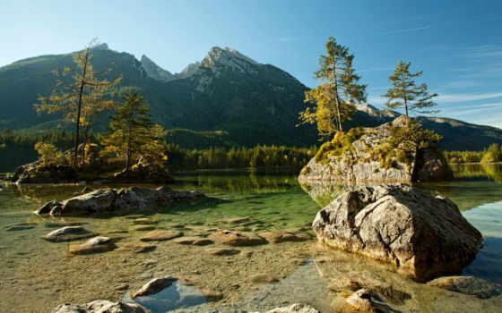альпы, german, горы, park, berchtesgaden, national, trees, бавария, германия, река,