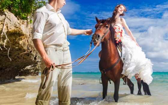 девушка, лошадь, парень