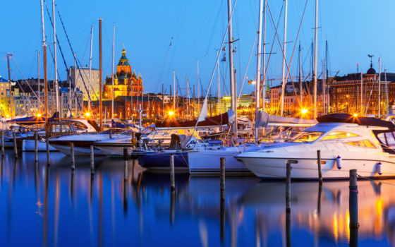 яхты, финляндия, helsinki, корабли, порт, причалы, город, ночь, порты,
