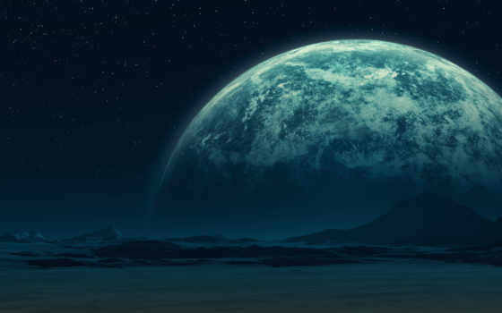 звезды, горы, planet, гладь, спутник,