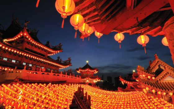 ,china, страны, фонари, крыши,
