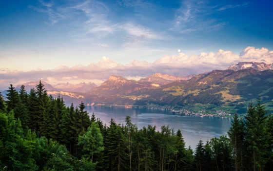 фоны, заставки, summer, горы, лес, природа, озеро,