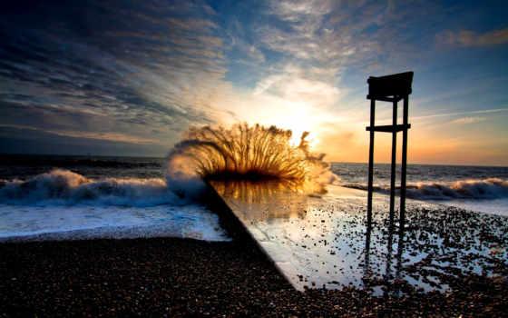 буря, море, waves, природа, волна, берег, pier, landscape, закат, небо, вечер,