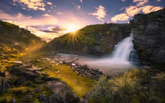 водопад, sun, восход, качественные, водопады, фотографий, rays, солнца,