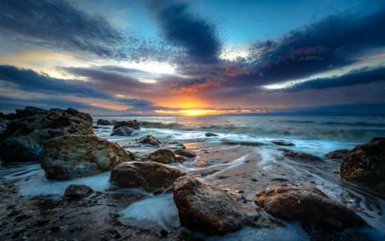 море, коллекция, облако, закат, user, смотреть, над, розовый, prostilayatsya, фото, камень